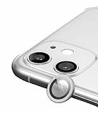 Apple iPhone 12 Metal Kenarlı Cam Silver Kamera Lensi Koruyucu