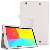 LG G Pad 10.1 V700 Standl� Yan Kapakl� Beyaz Deri K�l�f