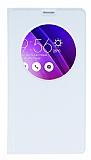 Asus ZenFone 2 İnce Yan Kapaklı Uyku Modlu Beyaz Kılıf