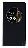 Asus ZenFone 3 Deluxe ZS570KL Gizli Mıknatıslı Çerçeveli Siyah Deri Kılıf