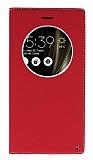Asus ZenFone 3 Deluxe ZS570KL Gizli Mıknatıslı Çerçeveli Kırmızı Deri Kılıf