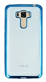 Asus Zenfone 3 Laser ZC551KL Mavi Kenarlı Şeffaf Silikon Kılıf
