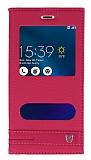 Asus Zenfone 3 Max ZC520TL Gizli Mıknatıslı Pencereli Pembe Deri Kılıf