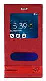Asus Zenfone 3 Max ZC520TL Gizli Mıknatıslı Pencereli Kırmızı Deri Kılıf