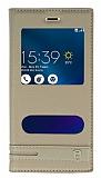 Asus Zenfone 3 Max ZC520TL Gizli Mıknatıslı Pencereli Gold Deri Kılıf