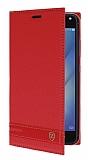Asus Zenfone 4 Max ZC554KL Gizli Mıknatıslı Standlı Kırmızı Deri Kılıf