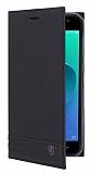 Asus ZenFone 4 Selfie ZD553KL Gizli Mıknatıslı Yan Kapaklı Siyah Deri Kılıf