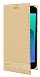 Asus ZenFone 4 Selfie ZD553KL Gizli Mıknatıslı Yan Kapaklı Gold Deri Kılıf