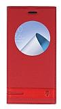 Asus ZenFone 4 ZE554KL Gizli Mıknatıslı Pencereli Kırmızı Deri Kılıf