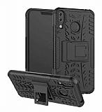 Asus ZenFone 5z ZS620KL Süper Koruma Standlı Siyah Kılıf