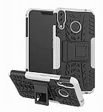 Asus ZenFone 5z ZS620KL Süper Koruma Standlı Beyaz Kılıf