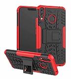 Asus ZenFone 5z ZS620KL Süper Koruma Standlı Kırmızı Kılıf