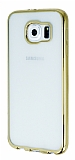Eiroo Color Fit Samsung Galaxy S6 Gold Kenarl� �effaf Silikon K�l�f
