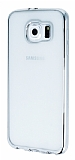 Samsung Galaxy S6 Silver Kenarlı Şeffaf Silikon Kılıf