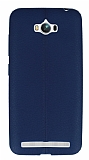 Asus ZenFone Max Deri Desenli Ultra İnce Lacivert Silikon Kılıf