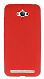 Asus ZenFone Max Deri Desenli Ultra İnce Kırmızı Silikon Kılıf