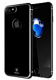 Baseus Glitter iPhone 7 Tam Kenar Koruma Jet Black Rubber Kılıf