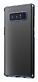 Baseus Glitter Samsung Galaxy Note 8 Tam Kenar Koruma Lacivert Rubber Kılıf