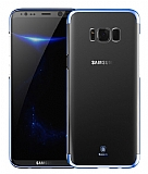 Baseus Glitter Samsung Galaxy S8 Tam Kenar Koruma Lacivert Rubber Kılıf