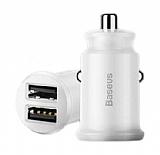 Baseus Grain Çift USB Girişli Beyaz Araç Şarj Aleti