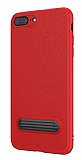 Baseus Happy iPhone 7 Plus / 8 Plus Standlı Deri Görünümlü Kırmızı Silikon Kılıf
