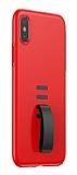 Baseus Little Tail iPhone X Yüzük Tutuculu Kırmızı Rubber Kılıf