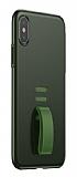 Baseus Little Tail iPhone X Yüzük Tutuculu Yeşil Rubber Kılıf