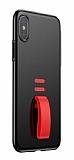 Baseus Little Tail iPhone X Yüzük Tutuculu Siyah Rubber Kılıf