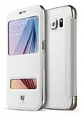 Baseus Primary Color Samsung i9800 Galaxy S6 Pencereli İnce Yan Kapaklı Beyaz Deri Kılıf