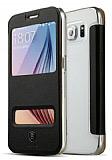 Baseus Primary Color Samsung i9800 Galaxy S6 Pencereli İnce Yan Kapaklı Siyah Deri Kılıf