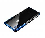 Baseus Shining iPhone XS Max Lacivert Kenarlı Silikon Kılıf