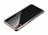 Baseus Shining iPhone XS Max Gold Kenarlı Silikon Kılıf