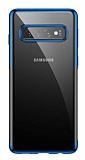 Baseus Shining Samsung Galaxy S10 Mavi Kenarlı Silikon Kılıf