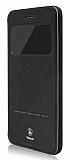 Baseus Simple iPhone 7 Plus / 8 Plus Pencereli Manyetik Kapaklı Siyah Deri Kılıf