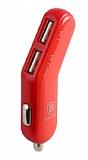 Baseus Smart Thin Fit Fashion Çift USB Girişli Kırmızı Araç Şarjı
