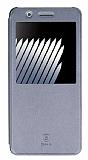 Baseus Sunie Samsung Galaxy Note 7 Pencereli Kapaklı Silver Deri Kılıf