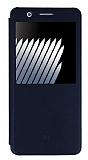 Baseus Sunie Samsung Galaxy Note 7 Pencereli Kapaklı Siyah Deri Kılıf