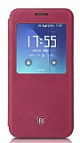 Baseus Terse Samsung Galaxy S7 Edge Pencereli İnce Yan Kapaklı Bordo Deri Kılıf