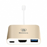 Baseus USB Type-C HDMI + USB HUB Gold Adaptör