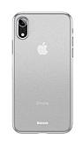 Baseus Wing iPhone XR Ultra İnce Şeffaf Beyaz Rubber Kılıf