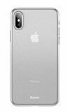 Baseus Wing iPhone XS Max Ultra İnce Şeffaf Beyaz Rubber Kılıf