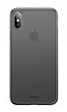 Baseus Wing iPhone XS Max Ultra İnce Şeffaf Siyah Rubber Kılıf
