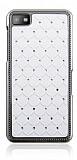 BlackBerry Z10 Ekose Taşlı Beyaz Sert Rubber Kılıf