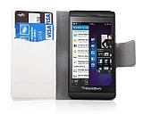 BlackBerry Z10 �nce Yan Kapakl� C�zdanl� Beyaz Deri K�l�f