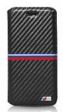 BMW iPhone 7 Plus / 8 Plus İnce Yan Kapaklı Siyah Karbon Kılıf