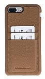 Bouletta Full Cover CC iPhone 7 Plus Kartlıklı Floater Hesel Tan Gerçek Deri Kılıf