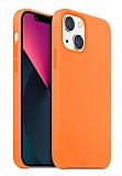 Buff Rubber Fit iPhone 13 Mini Light Orange Silikon Kılıf