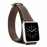 Burkley Apple Watch Çift Tur Antique Brown Gerçek Deri Kordon (38 mm)