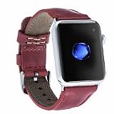 Burkley Apple Watch CZ04 Kırmızı Gerçek Deri Kordon (42 mm)