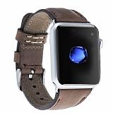 Burkley Apple Watch CZ06 Kahverengi Gerçek Deri Kordon (42 mm)